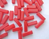 30 Vintage glass beads red, bugle beads, tube, 12mmx4mm hole 2.5mm