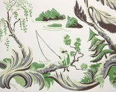1950s Vintage Wallpaper by the Yard - Chinoiserie Fisherman Scenic Green Cream and Brown Nancy McClelland