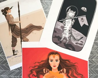 Digital Print Bundle - Wonder Woman, Rey & Catronaut