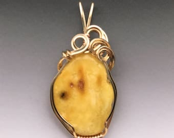 Amber 14k Yellow and Rose Gold Filled Wire Wrapped Pendant - Ready to Ship!