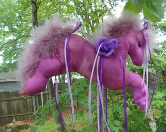 "Purple Fabric Hanging Fan Horse ""Rosy"""