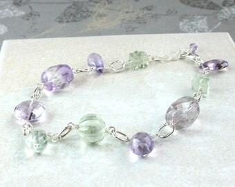 Multi  Gemstone Bracelet  Sterling  Silver Gemstone Jewelry Wire Wrapped  Amethyst  Bracelet Everyday Jewellery Birthday  Gift Lobster Clasp