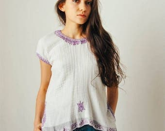 ON SALE Vintage White Gauze Top with Purple Embroidery