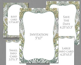 Wedding Invitation Template Graphics for Invite, RSVP, Save the Date, Info Cards - Botanical Garden Original Colors - Art Nouveau Frame