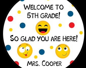 "12 Personalized Back To School Stickers - School Stickers - Emoji Design - Customized Wording -  Design - 2.5"" Inches"
