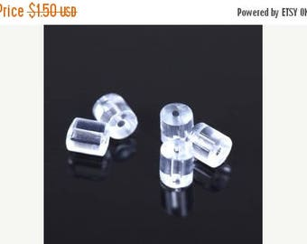 40% Retirement Closeout - Earring Backs, Ear Nuts, Earring Stoppers, Clear Rubber/Plastic, 3mm, 100 Pieces, 8S-EAHNUT-100-001