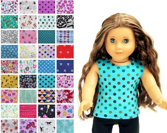 Fits like American Girl Doll Clothes - The Basic Tank Top, You Choose Print