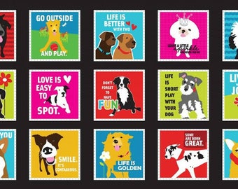 Must Love Dogs - Black Dogs & Sayings In Boxes -PANEL- Studio E- Cotton Fabric- Dogs- Quilting -Sewing- Juvenile- WindyRobinCotton