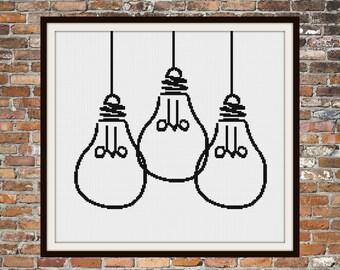 Edison Light Bulbs - a Counted Cross Stitch Pattern