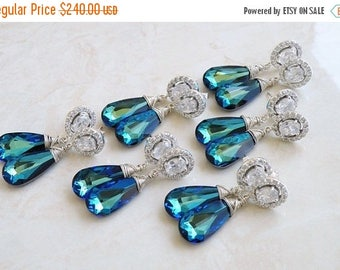 Summer Sale Swarovski Earrings Peacock Blue Teardrop Silver CZ Stud Post 6 pairs