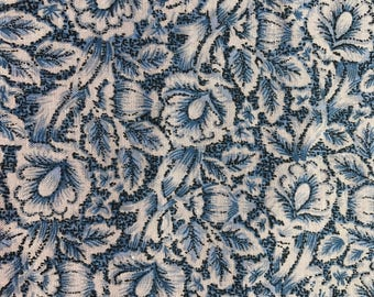 1 5/6 Yards of Vintage Benartex Blue and Off White Floral Print Cotton Fabric.