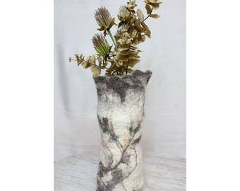 Wet Felted Wool Vessel/Vase/Luminary Neutral Colors