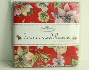 SALE  1 Pack 5 inch charm pack LINEN and LAWN Penny Rose Fabric