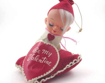 Vintage 1960s MOP-PETS Sarco Pixie Elf Knee Hugger on Pillow with Be My Valentine Heart Japan