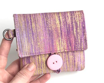 shimmery pink wallet women. cute credit card organizer. card coin fabric cloth cotton material handmade wristlet. vegan gift