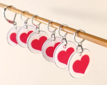 Stitch Markers Set for Knitting or Crochet, Hearts Abound