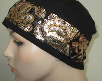 Black Knit w Gold Sequins Chemo Hat  Hat Alopecia  Cancer Hat Pillbox