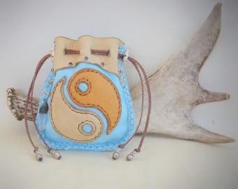 leather medicine bag >> YIN YANG << deerskin Spirit Pouch, Medicine Man, Shaman bag, small tarot bag, stash 420 bag, ZEN, Quartz Crystal