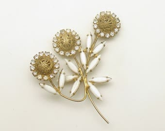 Vintage Brooch Flowers Milk Glass Leaves Wedding Jewelry
