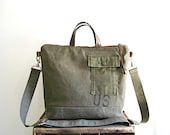 CUSTOM ORDER for K, Recycled military canvas tote, crossbody bag - eco vintage fabrics