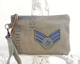 Military canvas wristlet, clutch - insignia patch - eco vintage fabrics