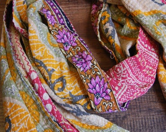 Lemon and Sage cotton scarf - kantha fabric, gift for her, fall scarf, cotton scarf, gift, autumn scarf, holiday gift