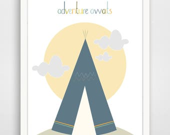 Adventure Awaits Tee Pee Wall Art Print, Nursery Art, Children Wall Art... print by Finny and Zook