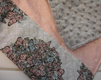 Butterflies and Bees Baby Minky Burp Cloth 10 x 15 READY TO SHIP