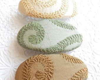 CLEARANCE - Ivory hair barrette, dark gold barrette, sea green barrette, embroidered barrette, fabric barrette, oval barrette, hair accessor