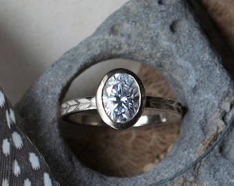Oval Moissanite Engagement Ring in White Gold | 8x6mm Oval Moissanite Ring| Bezel Set Forever One Moissanite | Antique inspired