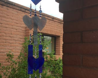 Custom Order for Rachel Wedding Windchime Stained Glass Hearts
