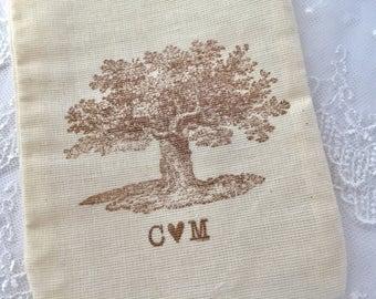 Oak Tree Favor Bags, Tree Wedding Favor Bags, Rustic Favor Bags, Initial Bags, SET OF 10
