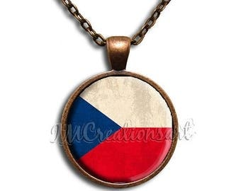 20% OFF - Czech Flag Glass Dome Pendant or with Chain Link Necklace SM139