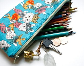 Stylish Owl and Rabbit Girls Pouch for School Supplies, Make Up, Cash, Phone, Glitter, Stickers And More! Upcycled and Handmade