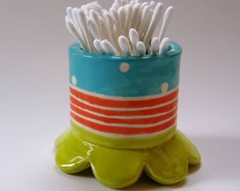 whimsical pottery Bathroom Cup ceramic cotton swab holder :) bright orange, chartreuse & turquoise, polka-dots, stripes -- ready to ship