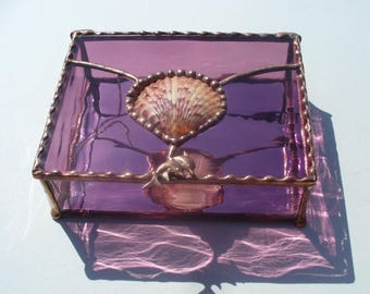 Seashell Boxes, Stained Glass Boxes, Jewelry Boxes, Amethyst Boxes, Seashells, Dolphins