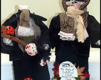 "2 in 1 ""Ichabod Crane! and I Lost My Head! Abraham, The Headless Horseman!"" Victorian Halloween Art Dolls Combo E-Pattern"