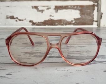 Vintage Nerd EyeGlasses - Salmon Pink Monsieur Grant Prescription Spring Arm Bifocal Narrow Fit