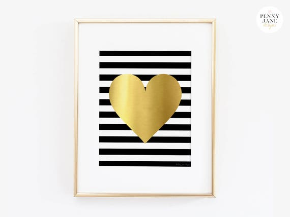 Good Gold Heart Art Print, Gold Office Decor Wall Artwork, Gold Nursery Decor  Stripes Heart, Print Digital Printable Wall Decor Artwork Design