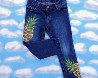 Girls Jeans/Kids Fashion/Art For Kids/Pineapple Art/Painted Pineapples/Upcycled Art/Painted Fabric/Painted Denim