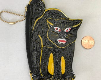 Vintage Halloween Black Cat Coin Purse, Old Stock, Barton's Candy, Black Cat
