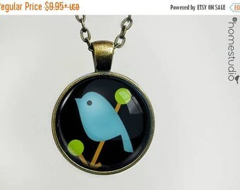 ON SALE - Song Bird (BLU) : Glass Dome Necklace, Pendant or Keychain Key Ring. Gift Present metal round art photo jewelry by HomeStudio