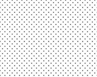ON SALE Riley Blake Basic Steel Swiss Dots on White
