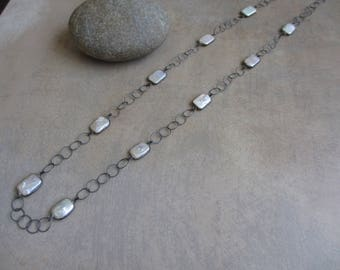 Long Station Necklace, Pearl, Oxidized Silver, Black Rhodium, Long Necklace, Irisjewelrydesign