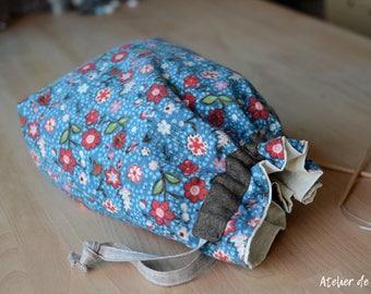 Knitting bag crochet bag Project bag drawstring bag floral prints knittingbag crochetbag