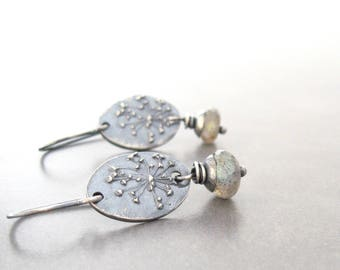 labradorite earrings, gemstone earrings, blue green stone earrings, botanical earrings, oxidized silver earrings, rustic gemstone earrings