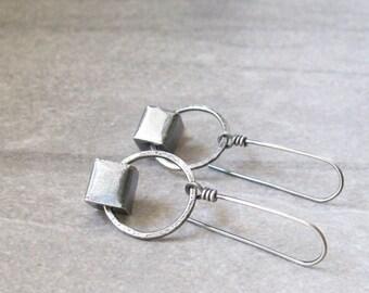 silver drop earrings, metalwork earrings, rustic silver earrings, geometric earrings, oxidized silver earrings, sterling ear wires