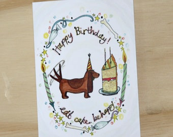 Happy cake loving Dog, Birthday Card.