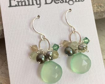 Seafoam chalcedony pearl cluster drop earrings sterling silver