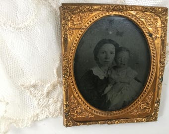 Antique Tin Type  Photo Mother and Child - Baby -